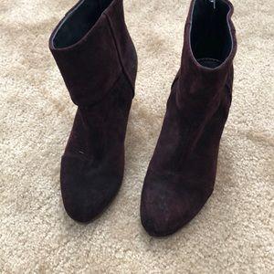 Suede burgundy rag and bone boots